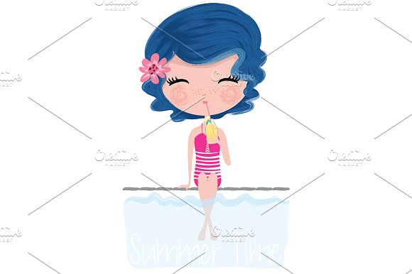 Cute Girl-Summer Girl-Postcard