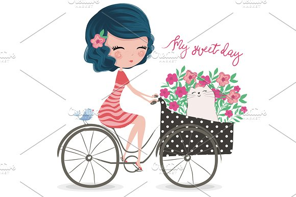 Cute Girl-Bike Girl T-shirt Graphic