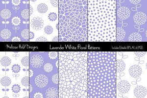 Lavender White Floral Patterns