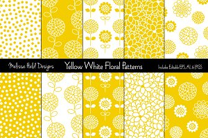 Yellow White Floral Patterns