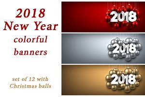 2018 New Year banners with balls