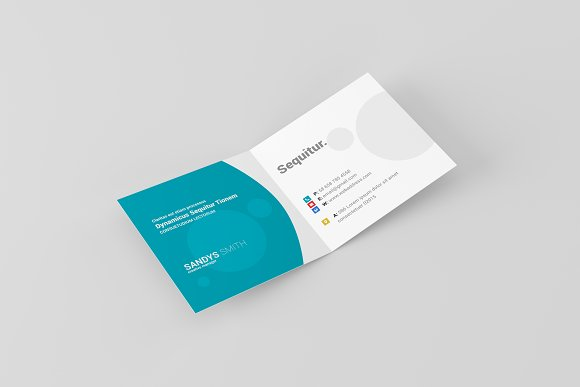 Free Square Folded Business Card Mock-Ups
