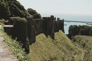 Castle Walls Along Hill