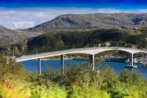 Norway city bridge bokeh background