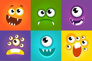 Funny cartoon monster faces