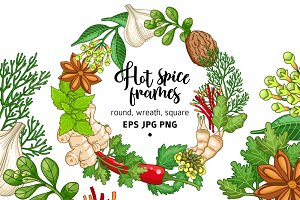 Hot spices and herbs templates