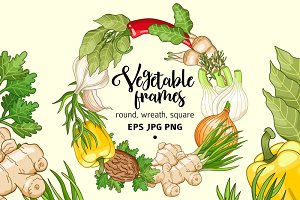 Vegetable spices and herbs templates