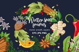 Winter spices and herbs templates