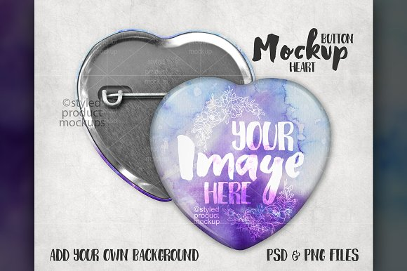 Heart Shaped Button Mockup