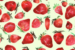 Strawberries watercolor pattern