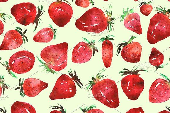 Strawberries Watercolor Pattern