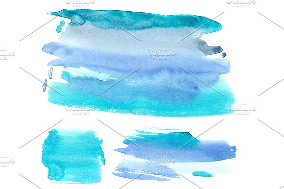 Azure Watercolor Blots