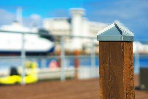 Quay border column bokeh background