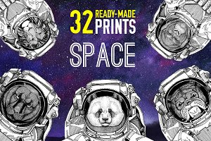 Astronaut animals T-shirt pack