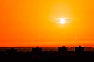 orange sunset on the city
