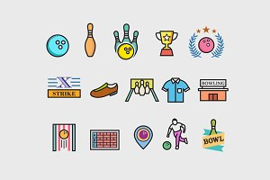 15 Ten Pin Bowling Icons