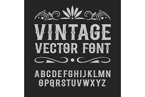 Vintage label font. Alcohol label style.