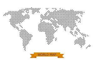 Vector world map cross dot