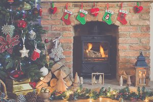 Christmas setting fireplace fur tree