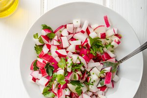 Radish Spring salad with herbs