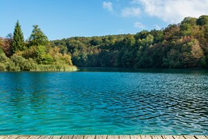 Old wooden pier on Plitvice lakes