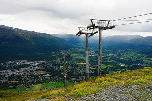 Oppdal mountain elevators landscape background