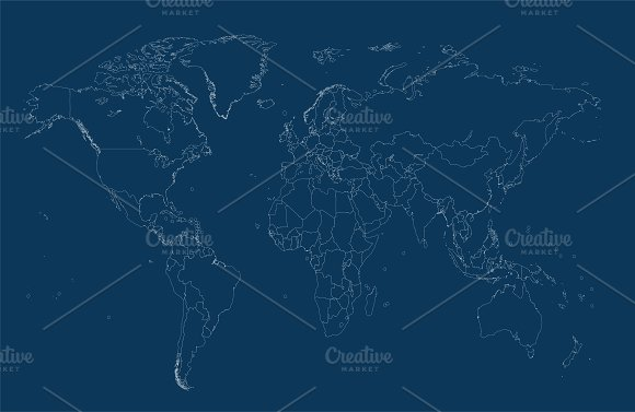 World map with borders blue outline graphics creative market gumiabroncs Gallery