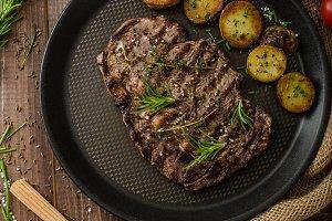 Beef rib eye steak