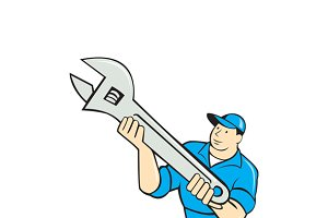 Mechanic Presenting Spanner Wrench C