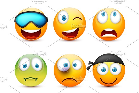 Smiley With Blue Eyes Emoticon Set Yellow Face With Emotions Facial Expression 3D Realistic Emoji Sad Happy Angry Faces.Funny Cartoon Character.Mood.Vector Illustration