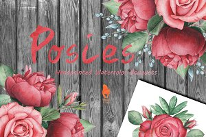 Posies, Watercolor Bouquets
