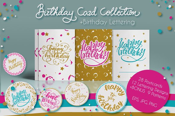 Birthday Card Collection Objects Creative Market – Birthday Card Collection