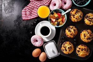 Healthy tasty breakfast flat lay top