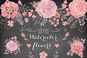 VECTOR Watercolor flower cliparts