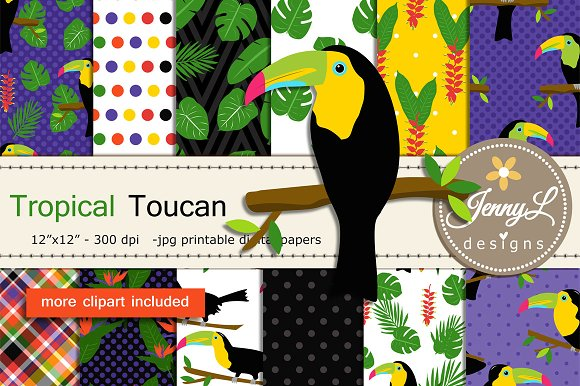 Toucan Digital Papers Clipart