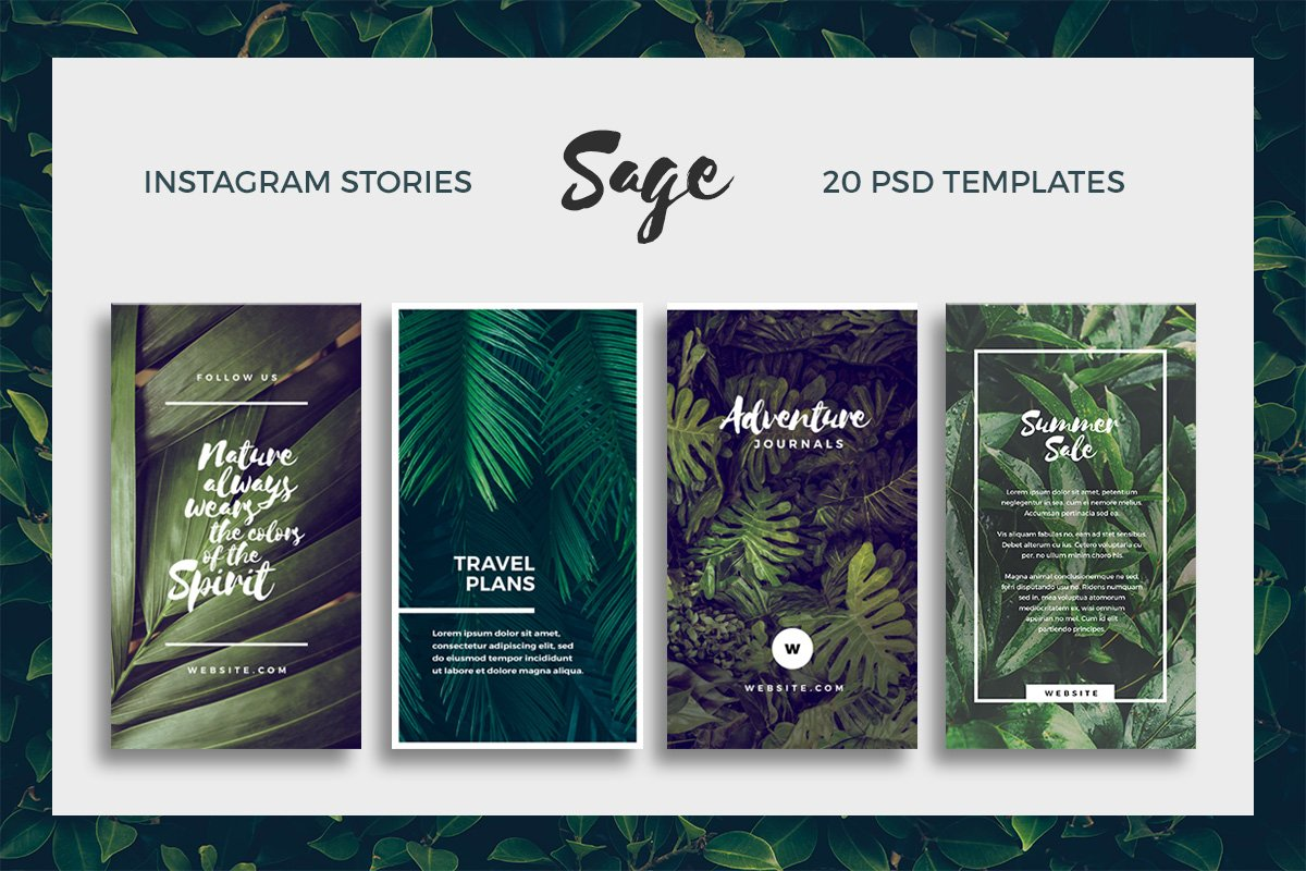 sage instagram story templates instagram templates creative market. Black Bedroom Furniture Sets. Home Design Ideas