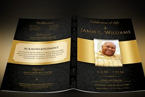Black Gold Dignity Funeral Program