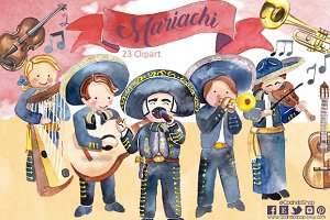 Mariachi watercolor clip art
