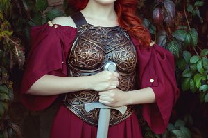 Beautiful woman with a sword.