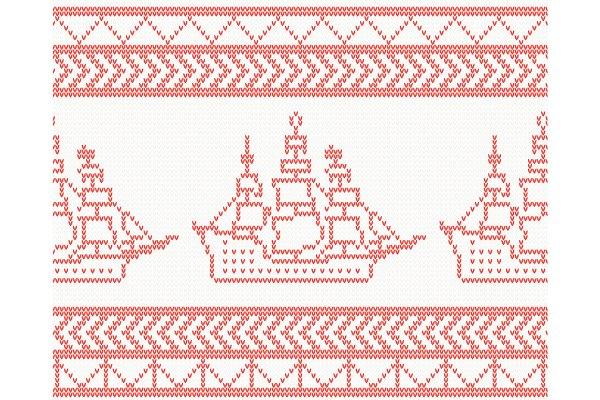 Knitted Ship Seamless Pattern