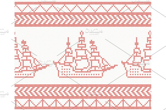 Knitted Ship Seamless Pattern