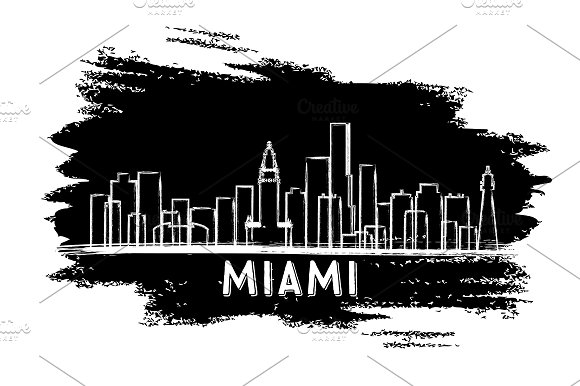 Miami USA Skyline Silhouette