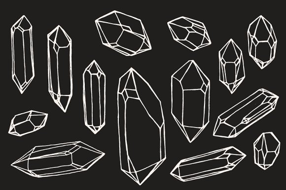 crystal mineral gem drawings illustrations creative market