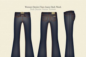 Women Denim Flare Jeans Dark Wash