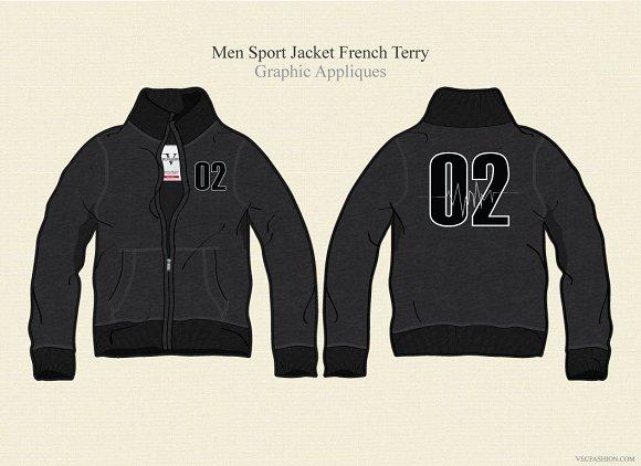 Men Sport Jacket French Terry Illustrations Creative Market