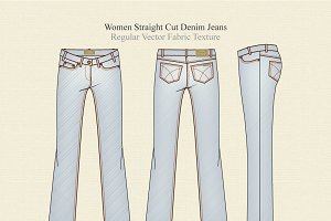 Women Straight Cut Denim Jeans