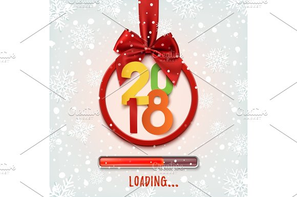 Happy New Year 2018 Loading Round Banner