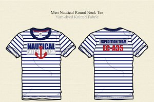 Men Nautical Round Neck Tee