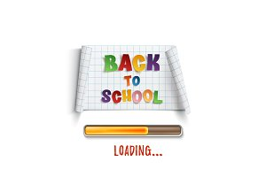 Back to school loading curved paper banner.