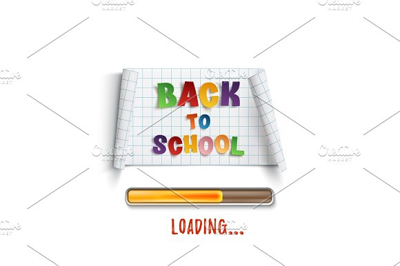 Back To School Loading Curved Paper Banner